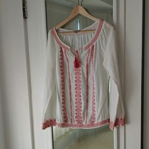 Lucky Brand Pink Embroidery Peasant Top & Tassels
